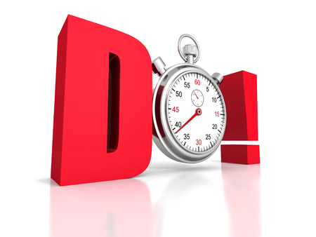 competition concept red DO letters with classic stopwatch. 3d render illustration