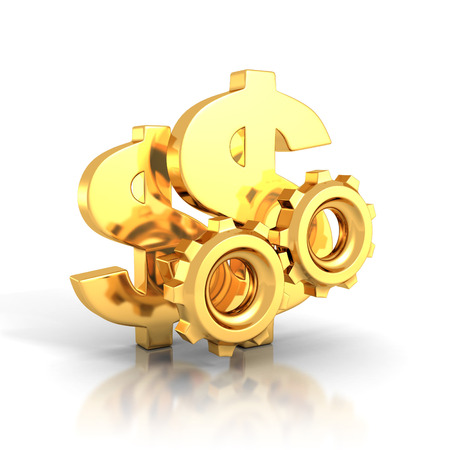 gears: golden dollar symbols and cogwheel gears on white background. 3d render illustration Stock Photo