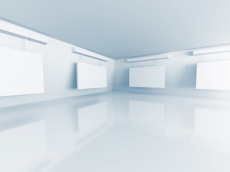 gallery interior: Gallery Interior with empty frames on wall. 3d Render Illustration