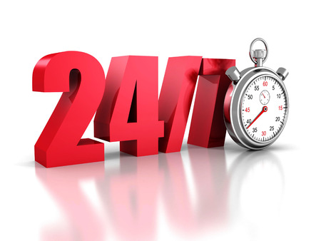 overnight delivery: stopwatch with the numbers 24 and 7 concept of always available. 3d render illustration