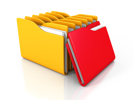 paper art projects: Office Document Paper Folders On White Background. 3d Render Illustration