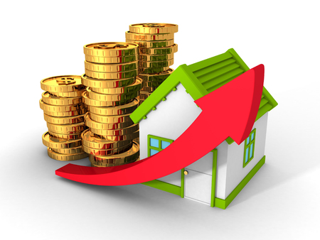 real estate concept house with golden coins and rising arrow. 3d render illustration