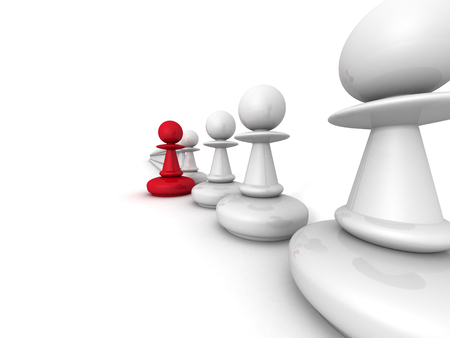leadership key: leadership concept red pawn forward white team group. 3d render illustration
