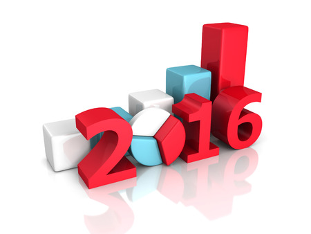 turns of the year: successful business bar and pie graphs 2016 year. 3d render illustration Stock Photo
