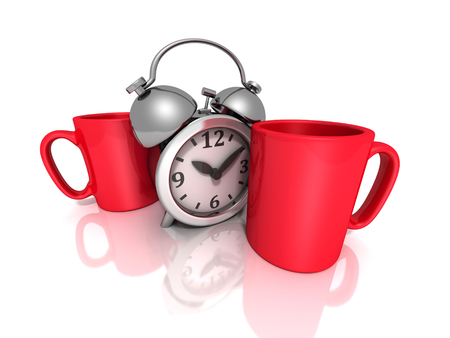 second breakfast: break for coffee concept with red mugs and retro alarm clock. 3d render illustration Stock Photo