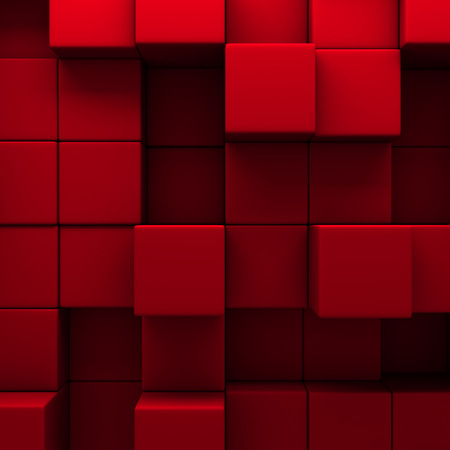 abstract red cubes wall background. 3d render illustration Stock Photo