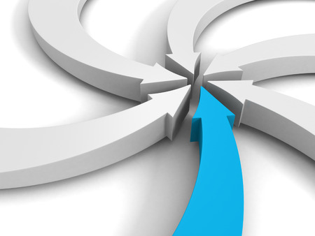integrate: arrows pointing to a center point on white background. 3d render illustration
