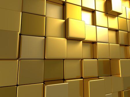 黄金の箱表面背景。3 d レンダリング図