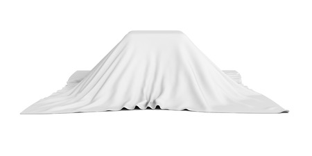 unveil: surprise box covered with white cloth. 3d render illustration