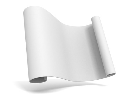 paper art projects: Paper scroll on white background. 3d render illustration Stock Photo