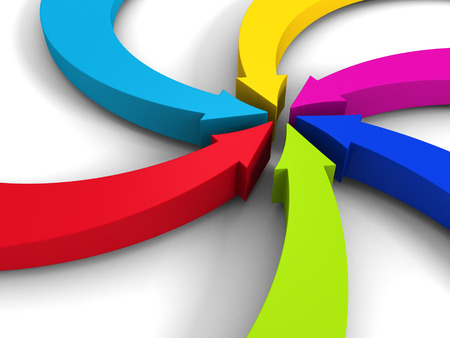 inward: colorful curving arrows sweep inward to point at the center. 3d render illustration