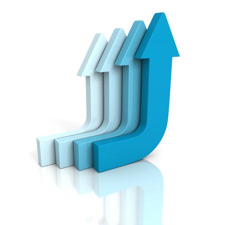 flechas curvas: flechas curvas azul que sube en el fondo blanco. 3d ilustración