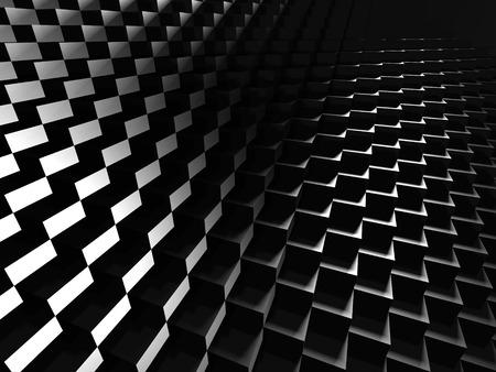meshed: Glossy Dark Metallic Cubes Background. 3d Render illustration Stock Photo