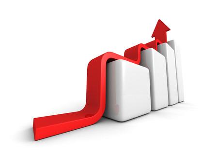 achivement: Business Achivement Concept bar Graph Wiyh Rising Arrow. 3d Render Illustration Stock Photo