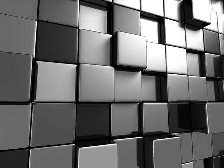 diagonals: Metallic Cubes Abstract Wallpaper Background. 3d Render Illustration Stock Photo