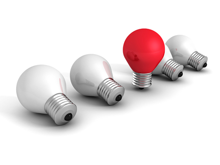 different idea: different red idea light bulb on white. creativity concept 3d render illustration Stock Photo