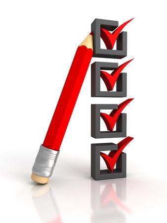 Consultez la liste avec un crayon rouge sur fond blanc. 3d render illustration
