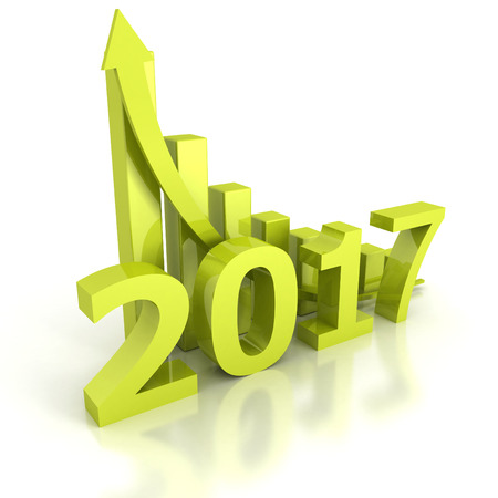 new arrow: Growth bar chart 2017 new year with rising arrow. 3d render illustration Stock Photo