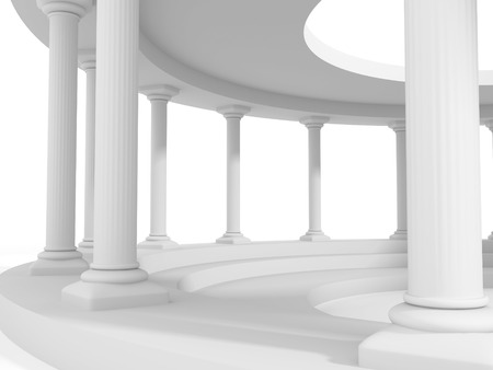 3d temple: ancient style column architecture design background. 3d render illustration