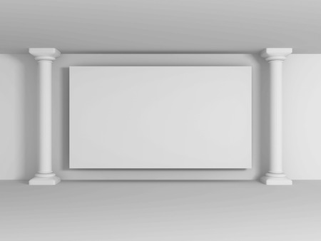 lighting column: Abstract Blank Wall Banner With Columns. 3d render illustration