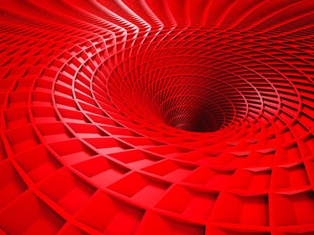 red tube: Tubo rojo del fondo del agujero del t�nel. 3d hacer ilustraci�n