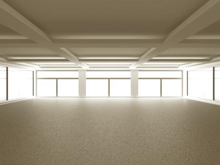 spacious: Empty spacious big room interior background. 3d render illustration Stock Photo