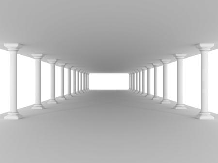 doric: corridor with columns antique design architecture background. 3d render illustration