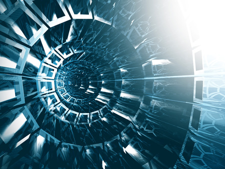 tunnel portals: Abstract Blue Futuristic Tunnel Background. 3d render illustration