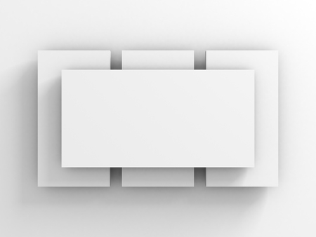 fanned: Abstract Background Of White Picture Card Or Frame. 3d Render Illustration