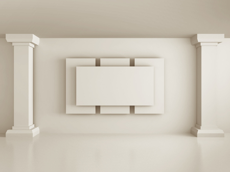 lighting column: blank picture or photo frame with white wall columns. 3d render illustration Stock Photo