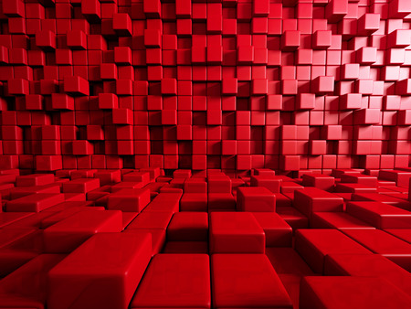 futuristic: Abstract Red Cube Blocks Wall Background. 3d Render Illustration Stock Photo