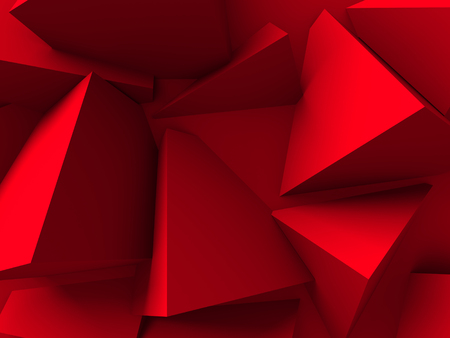 chaotic: Red Chaotic Cubes Wall Background. 3d Render Illustration