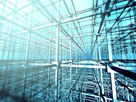 meshed: Dark Metallic Construction Design Background. 3d Render Illustration