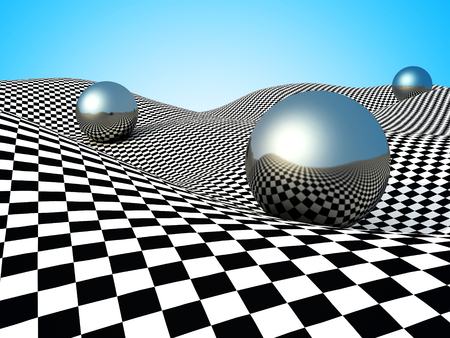 checker: Metallic Spheres On Checker Surface. Abstract Background. 3d Render Illustration