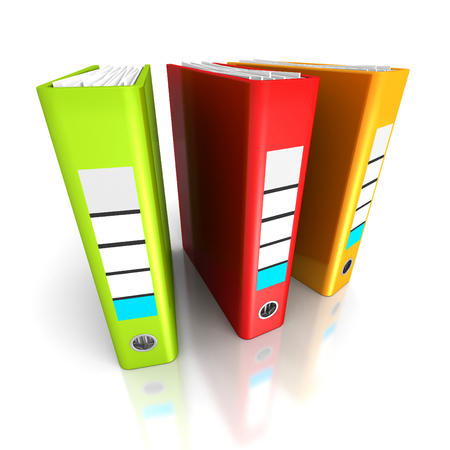 tabulate: Three Colorful Office Ring Binders On White Background. 3d Render Illustration