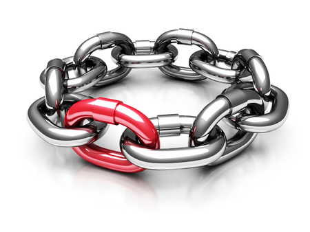 rounding: Red Different Chain Link. Teamwork Concept 3d Render Illustration