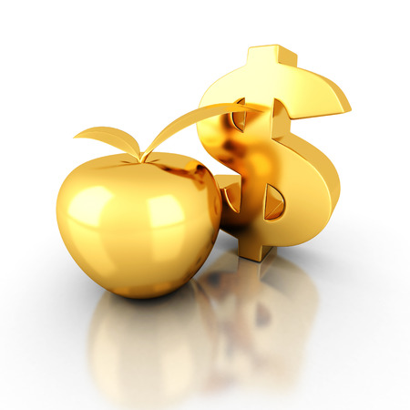 golden apple: big golden dollar symbol with apple. business success finance concept 3d render illustration