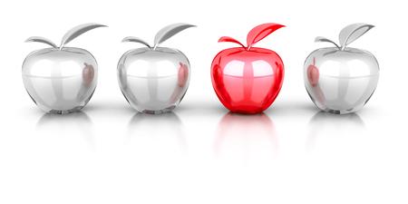 manzana roja diferente que en otros blancos grupo creado. 3d ilustración Foto de archivo