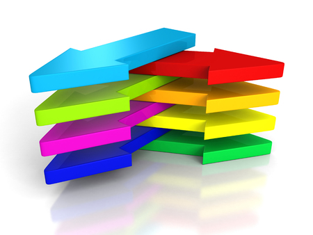 different directions: set of arrows in different directions. right choice concept 3d render illustration Stock Photo