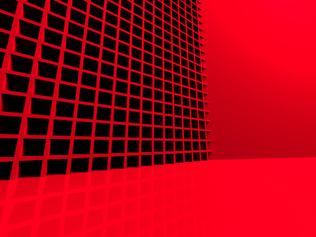 meshed: Futuristic Red Abstract 3d Background. 3d Render Illustration Stock Photo