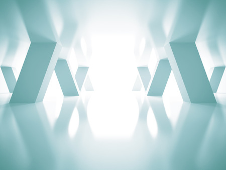Abstract Blue Futuristic Architecture Background. 3d Render Illustration