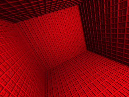 meshed: Abstract Red 3d Architecture Background. 3d Render Illustration Stock Photo