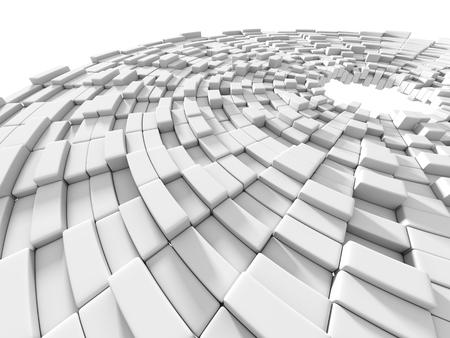 tehnology: Abstract White Blocks Design Background. 3d Render Illustration