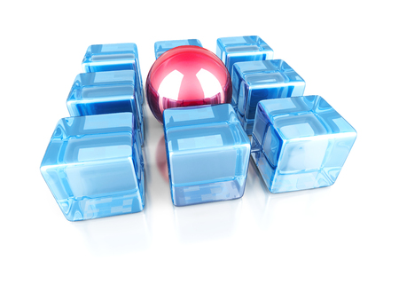 glass sphere: Red different glass sphere out from cubes group. 3d render illustration Stock Photo