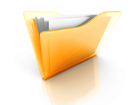 Yellow Office Document Paper Folder With Reflection. 3d Render Illustration