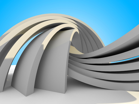 futuristic building: Abstract Architecture futuristic Building On Sky Background. 3d Render Illustration
