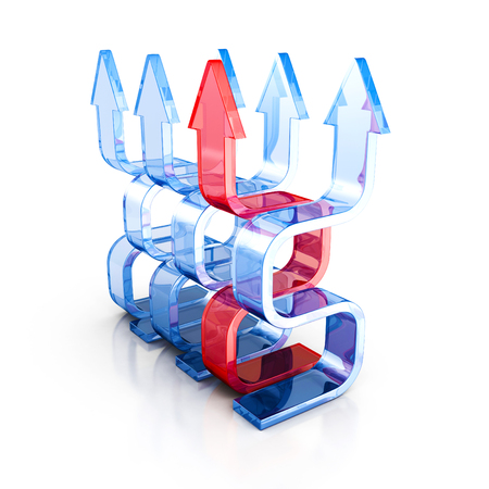 growing success: Growing Success Leader Red Glass Arrow. 3d Render Illustration Stock Photo
