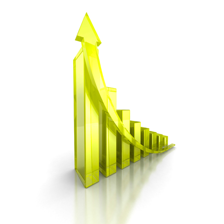 stockmarket chart: Green bar increasing graph with arrow. Business success concept. 3d render illustration Stock Photo