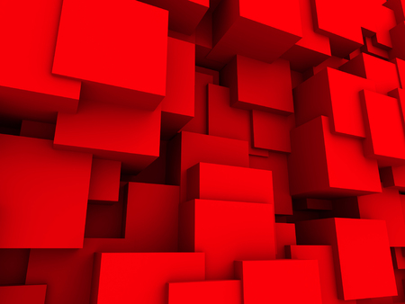 bg: Red Chaotic Cubes Wall Background. 3d Render Illustration