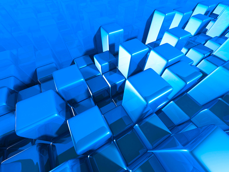 artistry: Abstract Blue Cubes Shiny Background. 3d Render Illustration Stock Photo